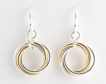 Sterling Silver 14k Gold Fill Infinity Love Knot Chainmaille Earrings Mobius Chain maille