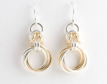 Sterling & 14K Gold Fill Byzantine Love Knots Chainmaille Earrings