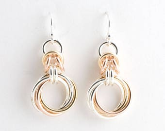Tri-Metal Byzantine Love Knots Chainmaille Earrings Sterling, 14k Gold Fill, 14k Rose GF