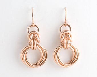 14K Rose Gold Fill Byzantine Love Knots Chainmaille Earrings