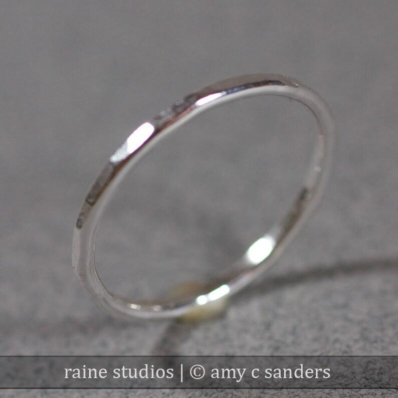 One Hammered Stacking Sterling Silver Ring Handmade 14 gauge image 0