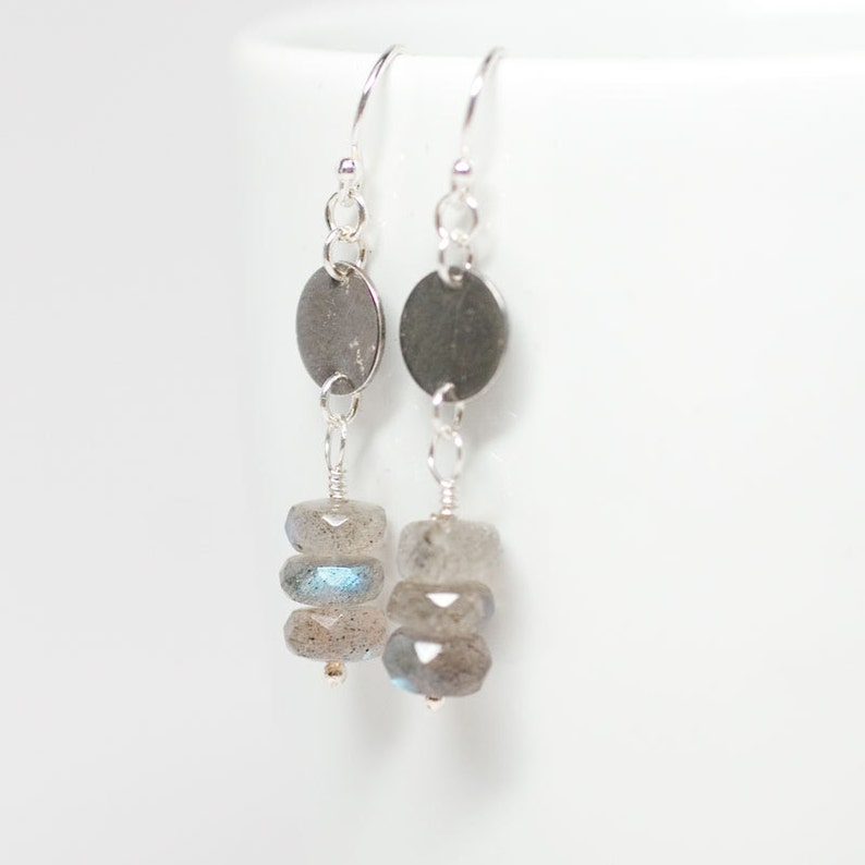 Stacked Labradorite Sterling Silver Earrings image 0