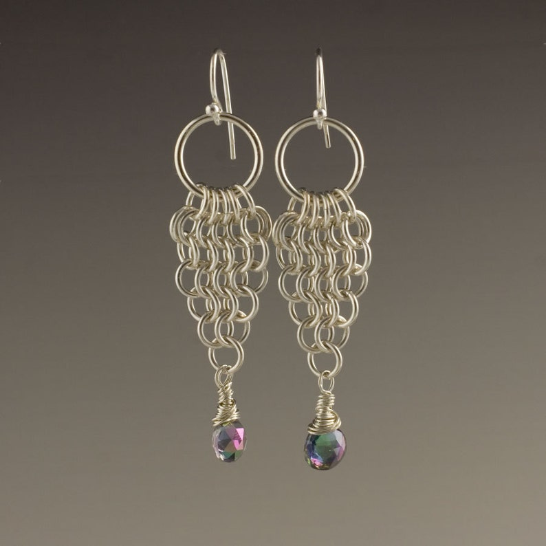 Sterling silver and Mystic Topaz chainmaille earrings image 0