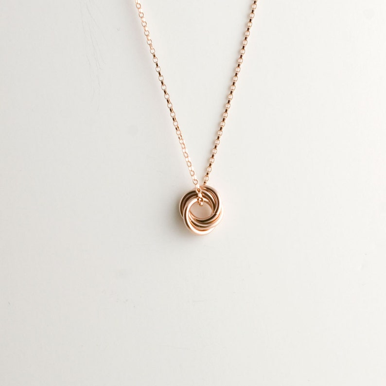 Mini Love Knot Pendant Necklace in 14k Rose Gold Filled  image 0