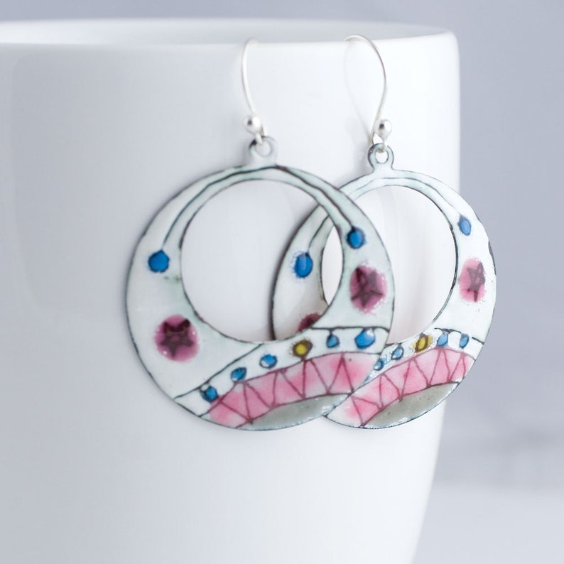 Pink and Gray Zig Zag Star Enamel Hoop Earrings  OOAK image 0