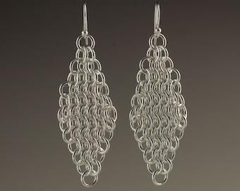 Sterling Silver Mesh Earrings - size 7