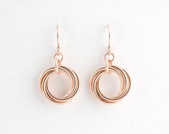 14k Rose Gold Fill Love Knot Earrings Chainmaille Infinity Mobius Wedding Flower