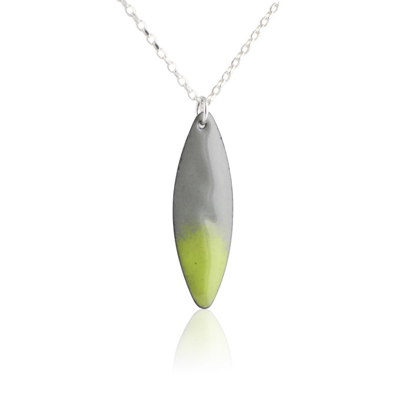 Green Marquis Enamel Necklace image 0