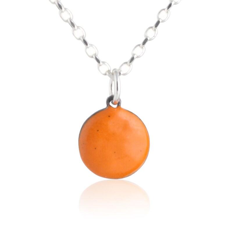Orange Enamel Dot Necklace image 0