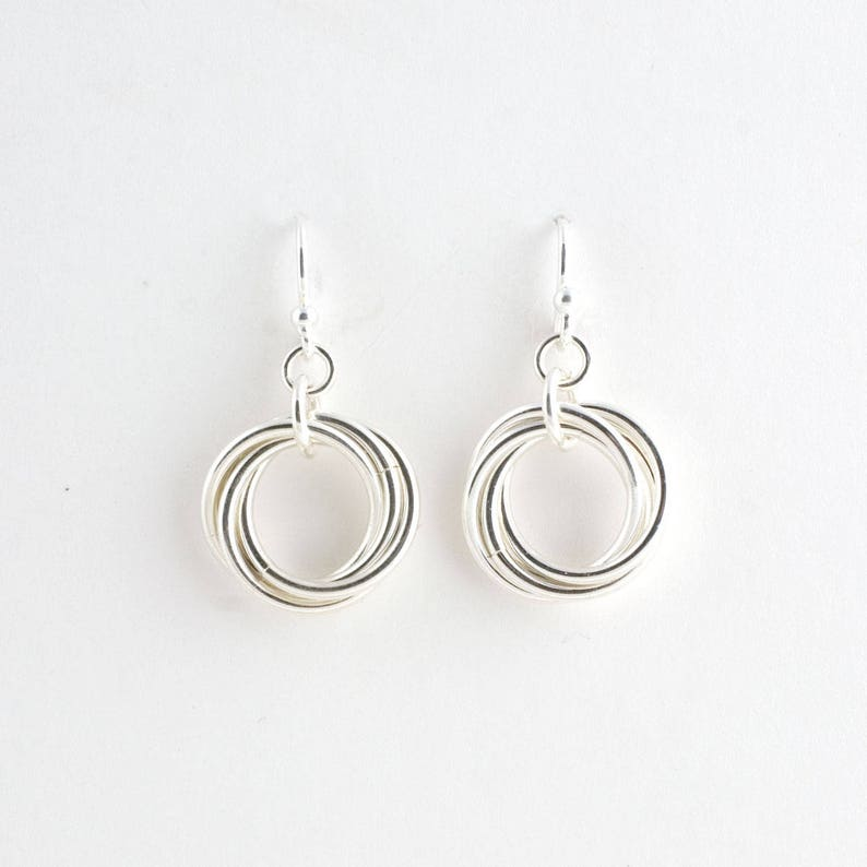 Sterling Silver Infinity Love Knot Chainmaille Earrings Mobius image 0