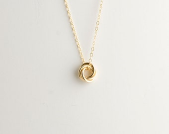 Mini Love Knot Pendant Necklace in 14k Yellow Gold Filled - Chainmaille Vortex Swirl Eternity