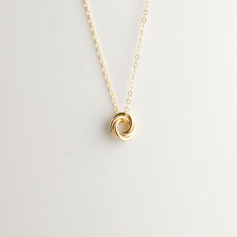 Mini Love Knot Pendant Necklace in 14k Yellow Gold Filled  image 0