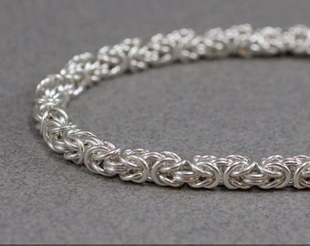 Petite Byzantine Chain Bracelet 18g Sterling Silver Handmade Chainmaille