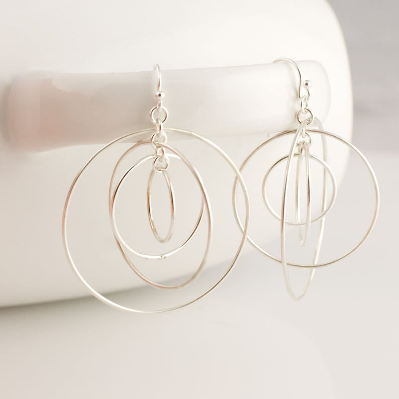 Large Satellite Circle Hoops Sterling Silver Earrings Forged image 0