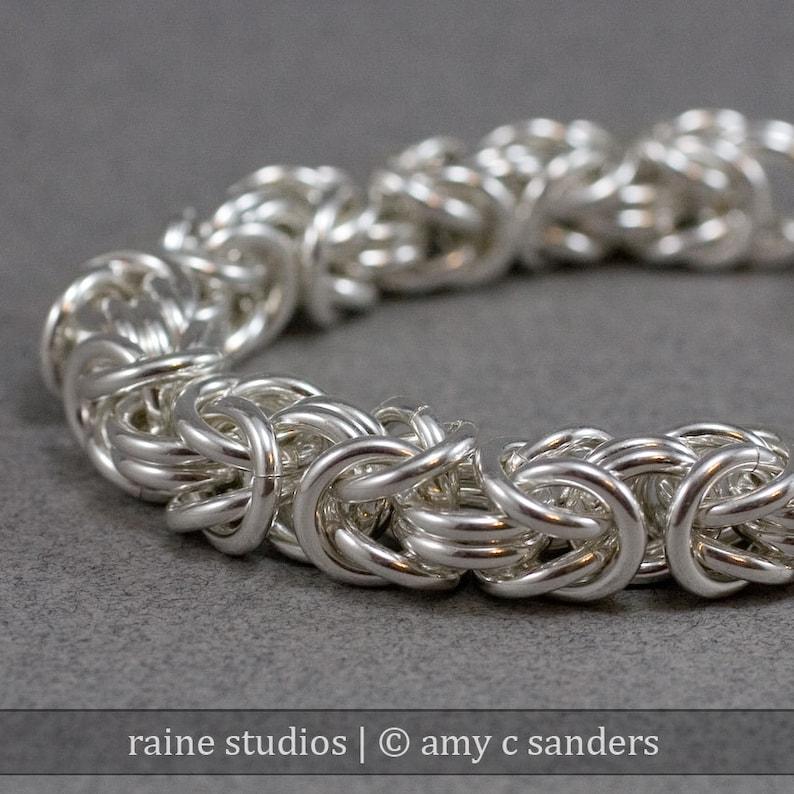 Hefty Sterling Byzantine Bracelet 12 gauge 12g Sterling Silver image 0