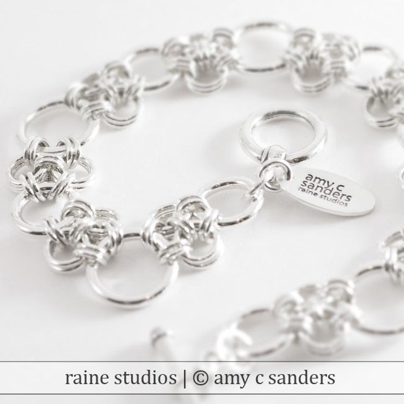 Enso Bracelet. Sterling silver chainmaille image 0