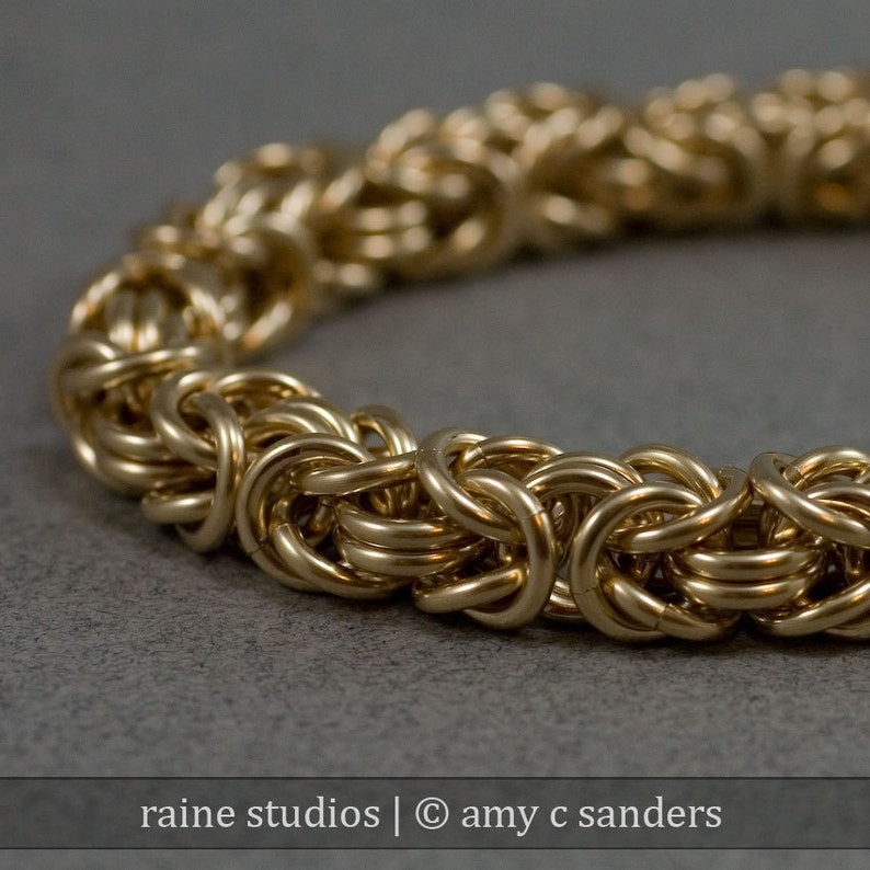 14k Gold Fill Uber Thick 12g Byzantine Chainmaille Bracelet image 0