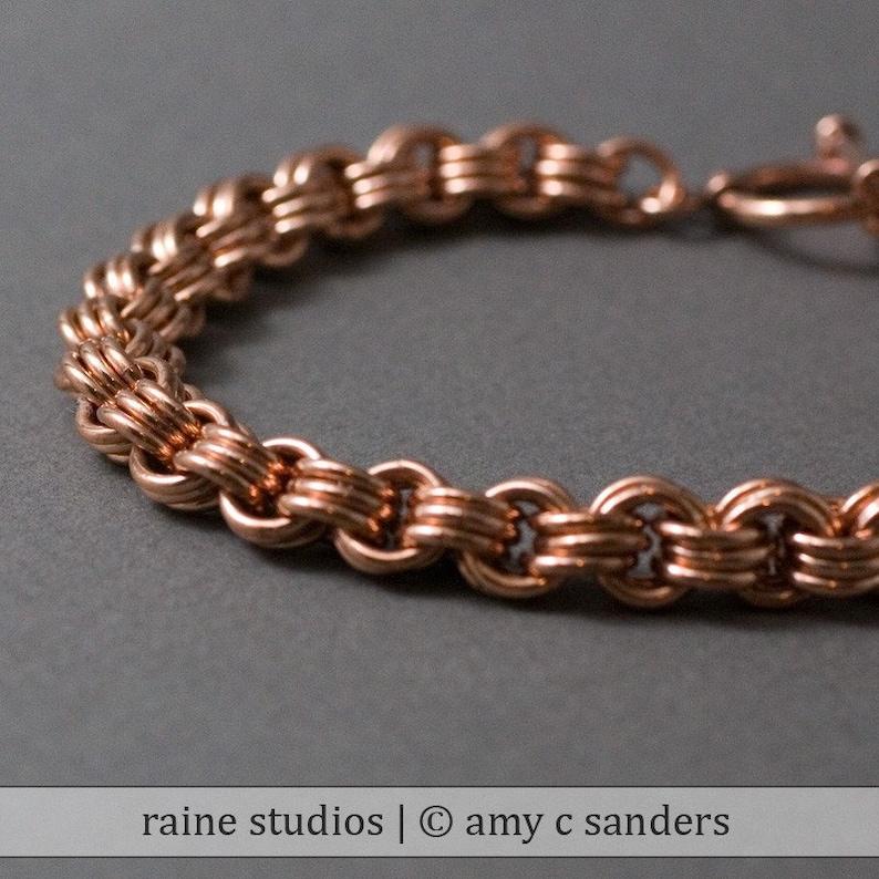 3 in 3 Copper Handmade hainmaille bracelet. image 0