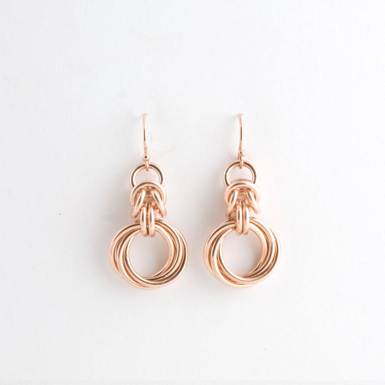 14K Rose Gold Fill Byzantine Love Knots Chainmaille Earrings image 0