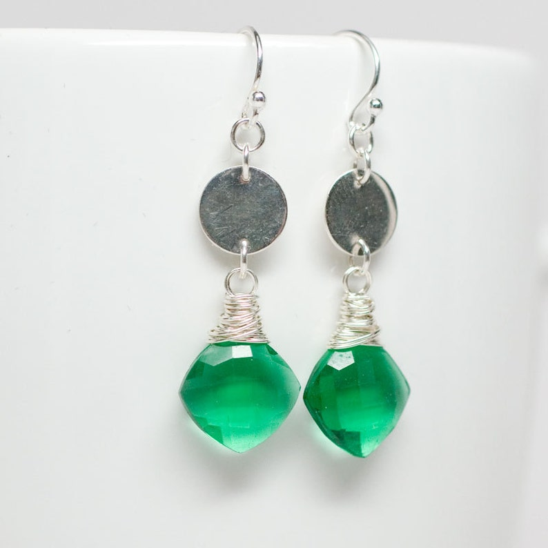 Green Hydroquartz Earrings Sterling Silver Wrapped from a image 0