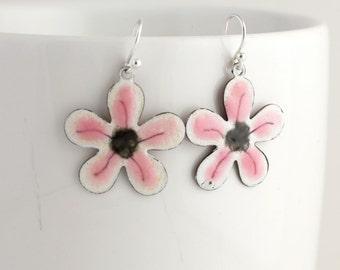 Dainty Pink and Black Flower Enamel Earrings
