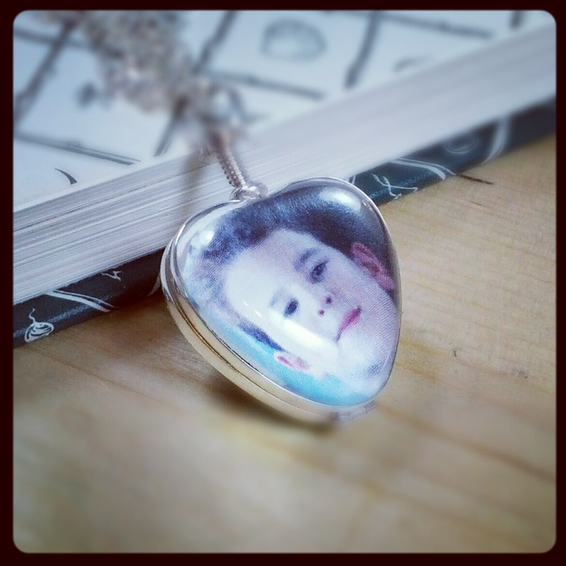Heart Locket Sterling Necklace  Heirloom Glass Photo Locket image 0