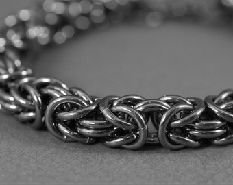 Men's Black Sterling Bracelet Handmade 14g Byzantine Chainmaille Oxidized Shiny Gunmetal