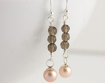 Pink Pearl and Smokey Quartz Earrings