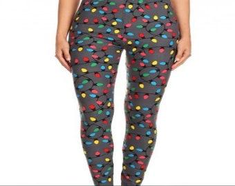 plus size 12 20 christmas lights leggings - Plus Size Christmas Leggings