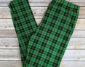 Patrick/'s Day Women/'s Leggings One Size OS 2-12 Green /& White Plaid St