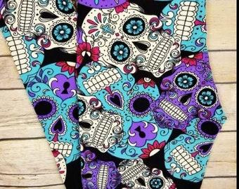 d5c7c58368d7a Plus Size 12-20 Sugar Skull Leggings Purple Blue Black Buttery Soft