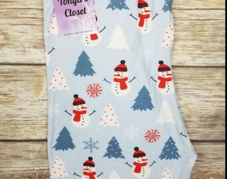 Plus Size 12-20 Snowman Holiday Christmas Tree Womens Leggings