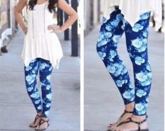 ONE SIZE 2-12 Teal Floral Leggings