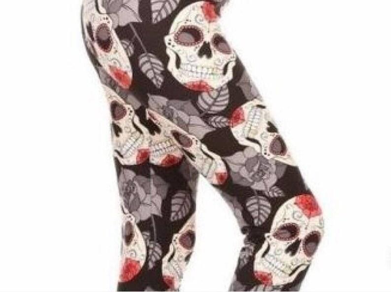 eb1456b41430d Plus Size 12-20 Black Red Sugar Skull Leggings Fall Leaves | Etsy