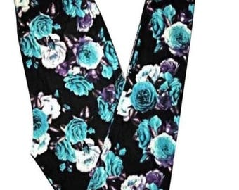 ONE SIZE Fits Sizes 2-12 Black Teal Floral Leggings