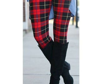 PLUS SIZE Red Plaid Fall/Winter Leggings Fits Sizes 12-20