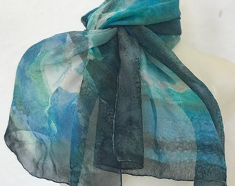 Hand painted blue chiffon scarf