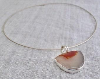 sterling silver pendant - apache agate