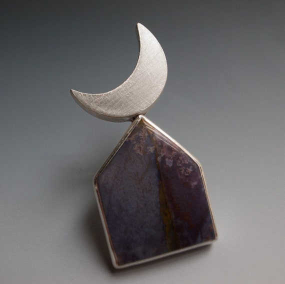 moon over purple house - brooch - burro creek agate