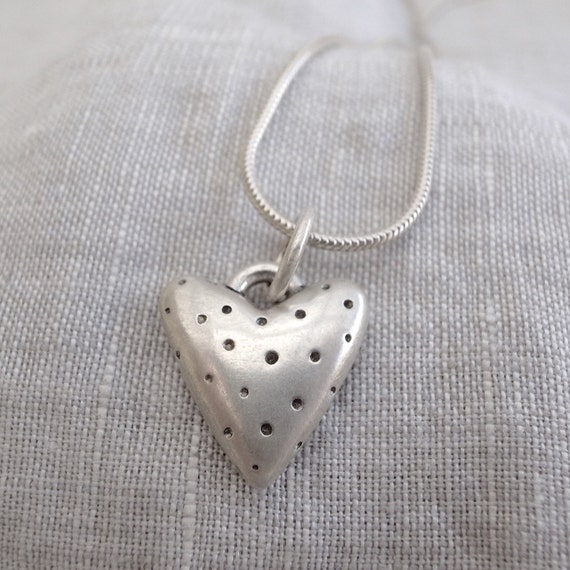 spotted silver heart pendant - sterling silver