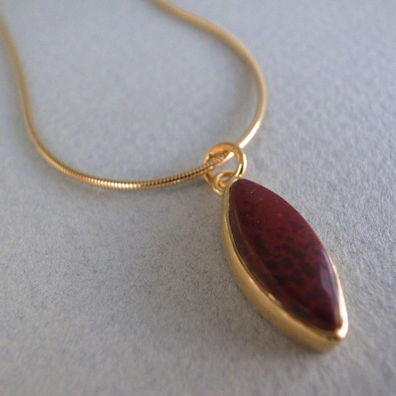 22k gold red jasper - leaf pendant