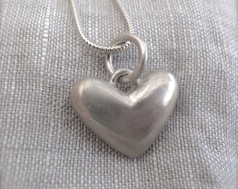 silver heart pendant - hand carved - cast
