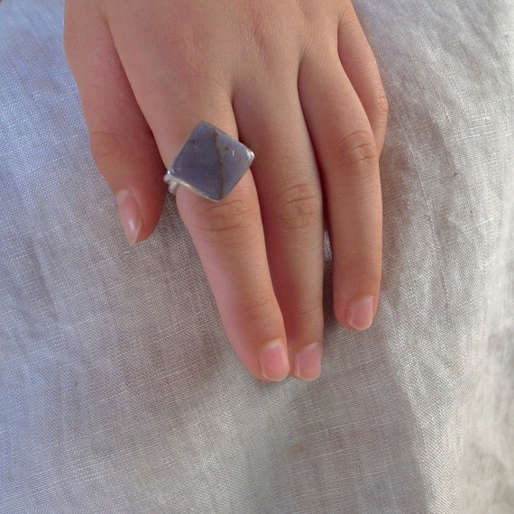 square stone ring - burro creek agate