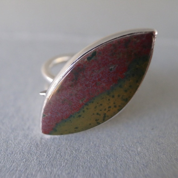 leaf ring - red jasper