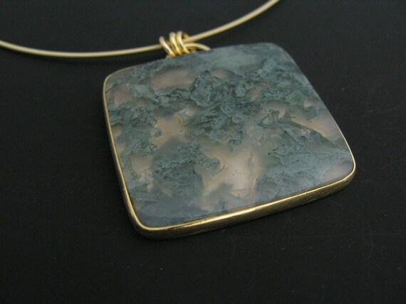 horse creek jasper pendant - 22k gold - sterling silver