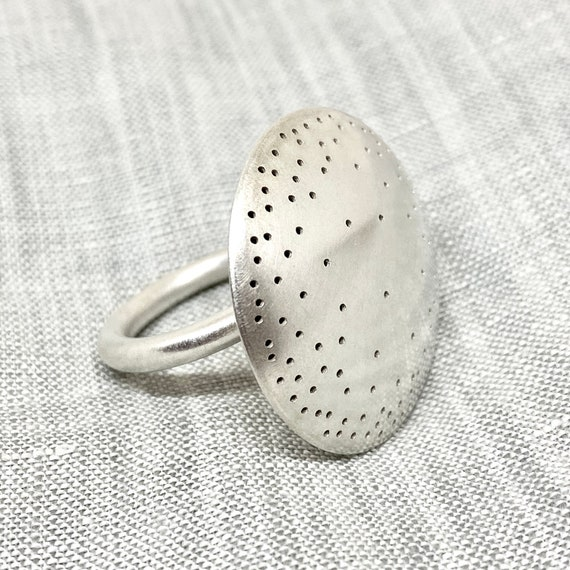 round sterling-silver polka-dot ring