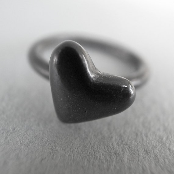 heart stack ring - sterling silver - black