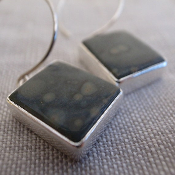 square earrings - orbicular jasper