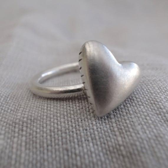 large heart stack ring - 10 gauge - side stripes