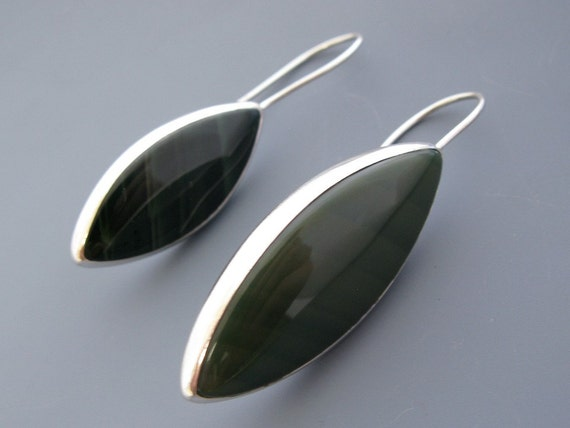 imperial jasper leaf earrings - sterling silver
